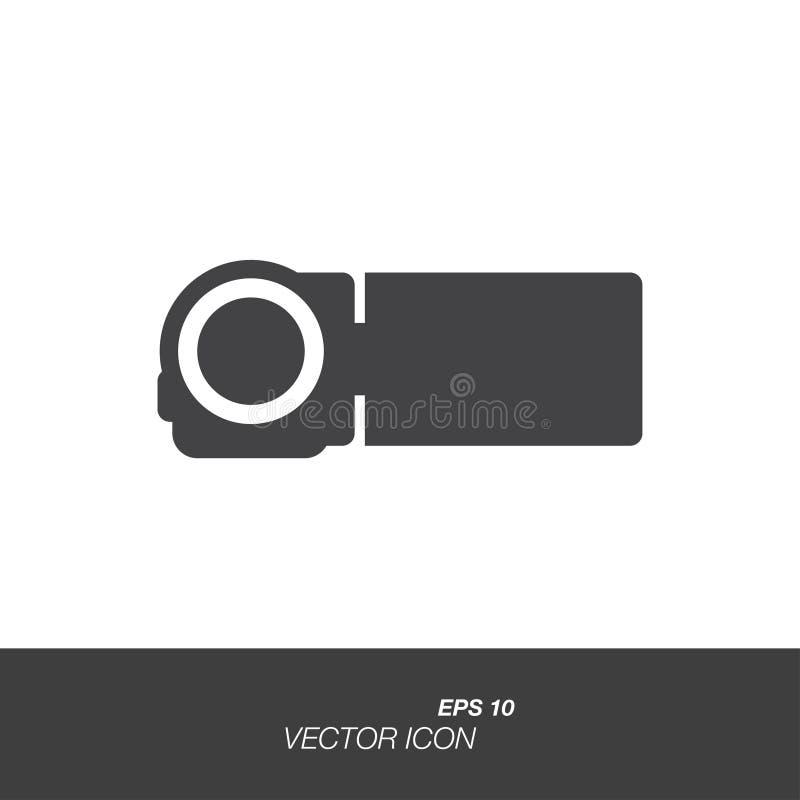 Значок видеокамеры в плоском стиле изолированный на белой предпосылке иллюстрация штока
