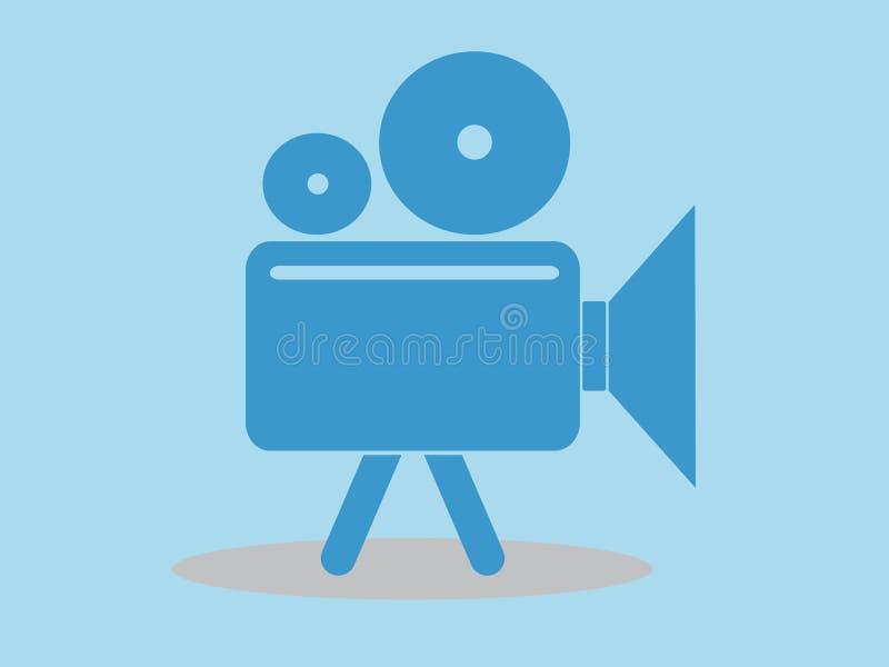 Значок видеокамеры, иллюстрация вектора, минимальный дизайн бесплатная иллюстрация