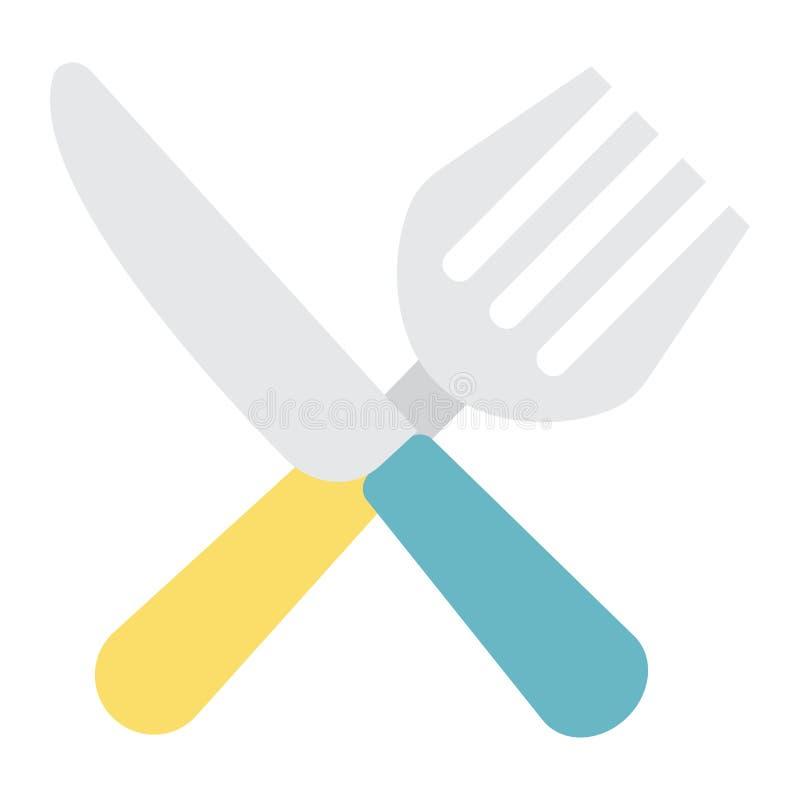 Значок вилки и ножа плоские, обедающий и ресторан иллюстрация вектора