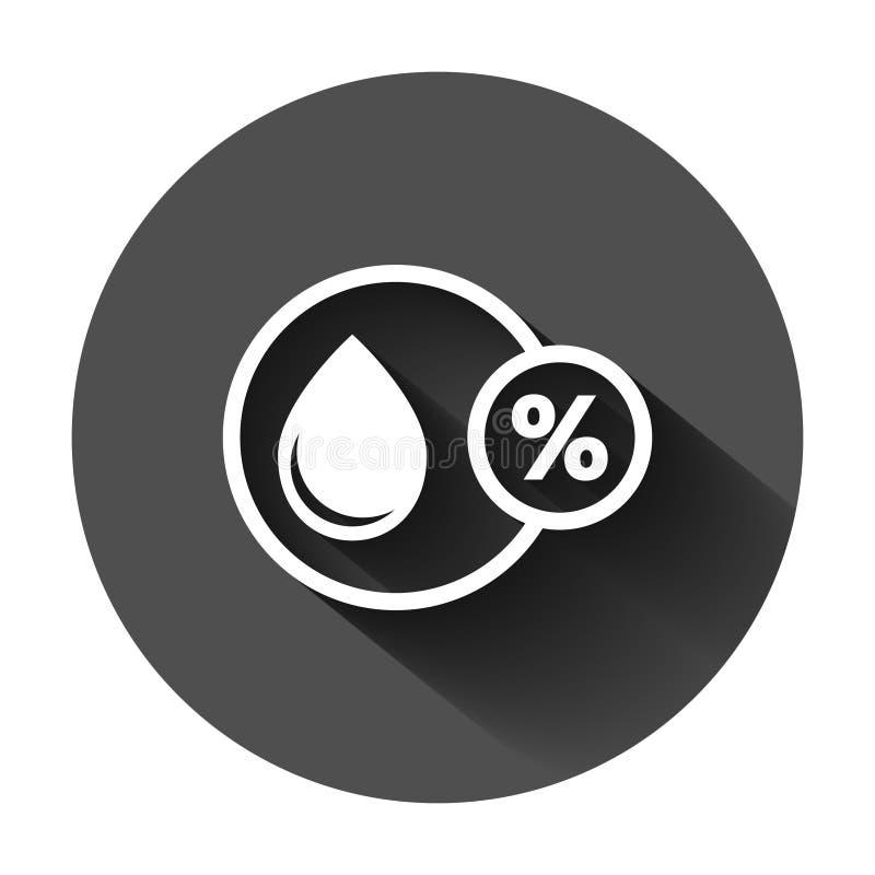 Значок влажности в плоском стиле Иллюстрация вектора климата на черной круглой предпосылке с длинной тенью Дело прогноза температ бесплатная иллюстрация