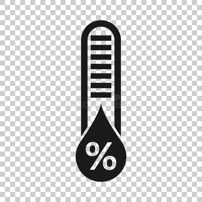 Значок влажности в прозрачном стиле Иллюстрация вектора климата на изолированной предпосылке Концепция дела прогноза температуры иллюстрация вектора
