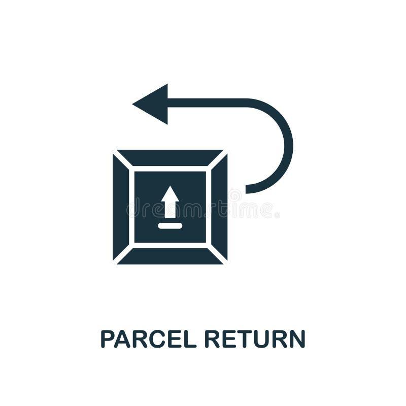 Значок возвращения пакета Monochrome дизайн стиля от собрания значка доставки снабжения Ui Пакет пиктограммы пиксела идеальный пр иллюстрация штока