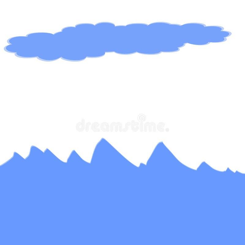 Значок волн и облаков моря с белой предпосылкой иллюстрация вектора