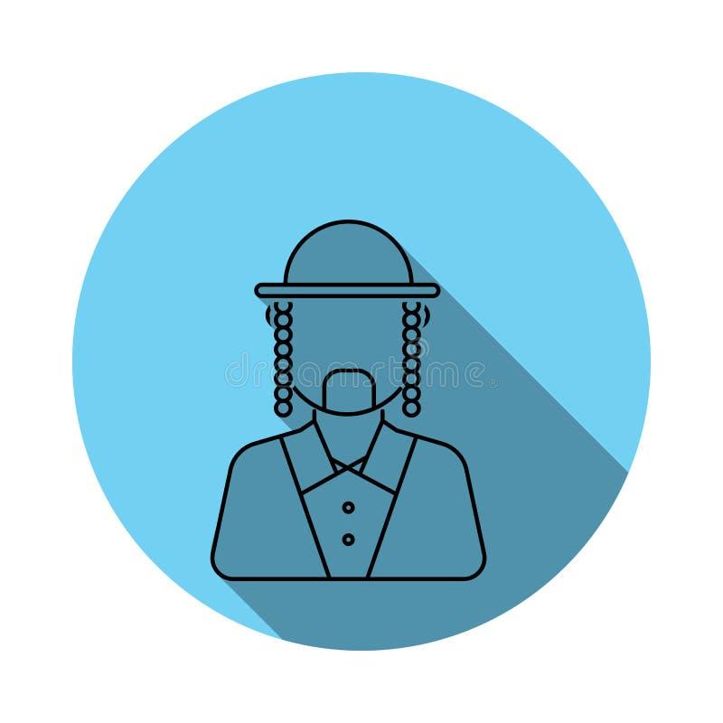 Значок воплощения еврея Ortodox человека Элементы воплощения в плоско сини покрасили значок Наградной качественный значок графиче бесплатная иллюстрация