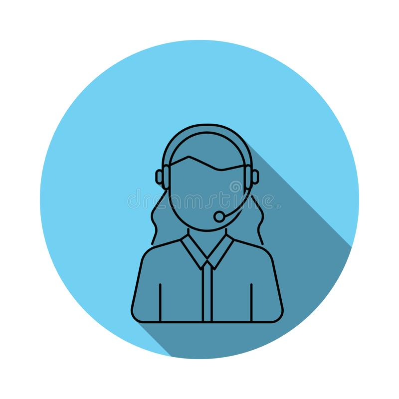Значок воплощения женщины обслуживания клиента Элементы воплощения в плоско сини покрасили значок Наградной качественный значок г иллюстрация штока