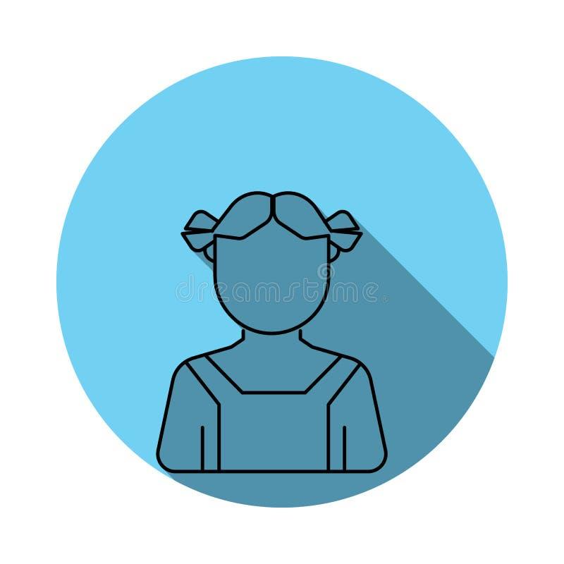 Значок воплощения фермера девушки Элементы воплощения в плоско сини покрасили значок Наградной качественный значок графического д бесплатная иллюстрация