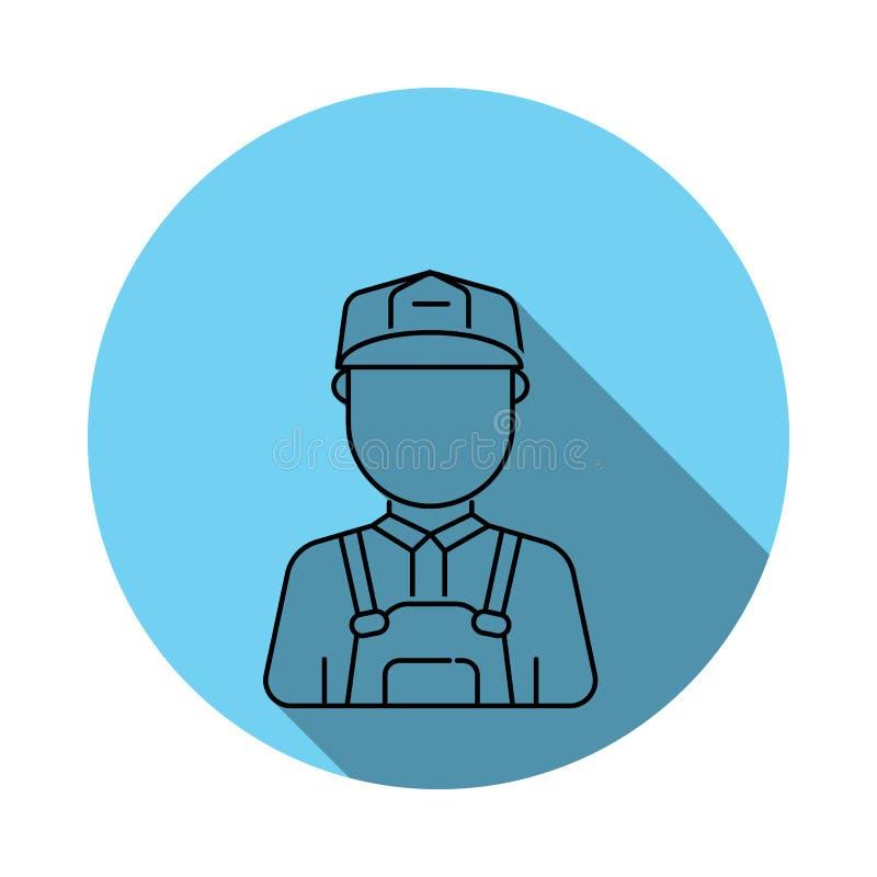 Значок воплощения человека рабочий-строителя Элементы воплощения в плоско сини покрасили значок Наградной качественный значок гра иллюстрация штока