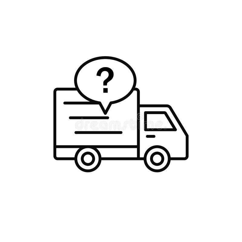 Значок вопросительного знака тележки поставки деталь пересылки проверяя иллюстрацию простой дизайн символа вектора плана иллюстрация штока