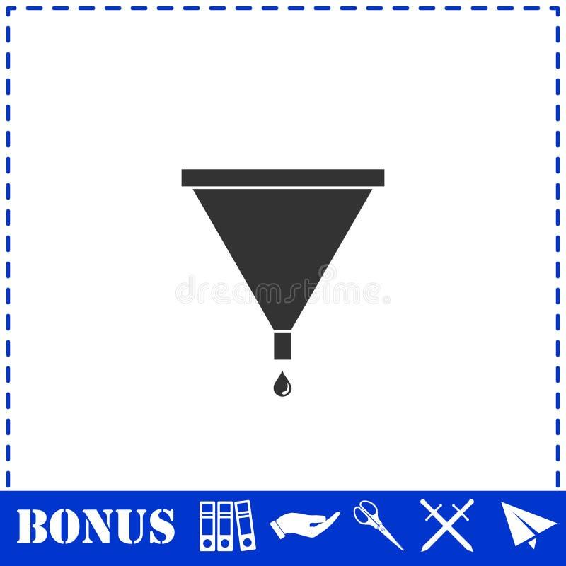 Значок воронки фильтра плоско иллюстрация штока
