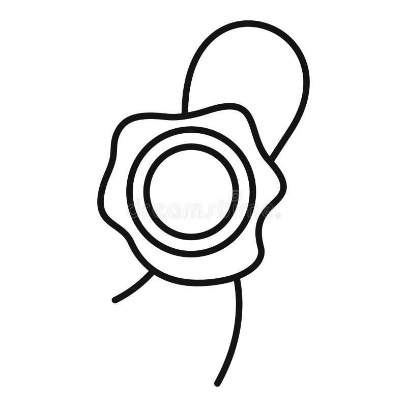 Значок воска запечатывания, стиль плана иллюстрация вектора