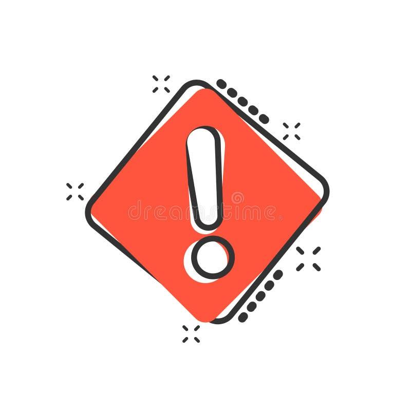 Значок восклицательного знака в шуточном стиле Пиктограмма иллюстрации мультфильма вектора сигнала тревоги опасности Выплеск конц бесплатная иллюстрация