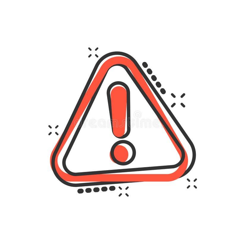 Значок восклицательного знака в шуточном стиле Пиктограмма иллюстрации мультфильма вектора сигнала тревоги опасности Выплеск конц иллюстрация вектора