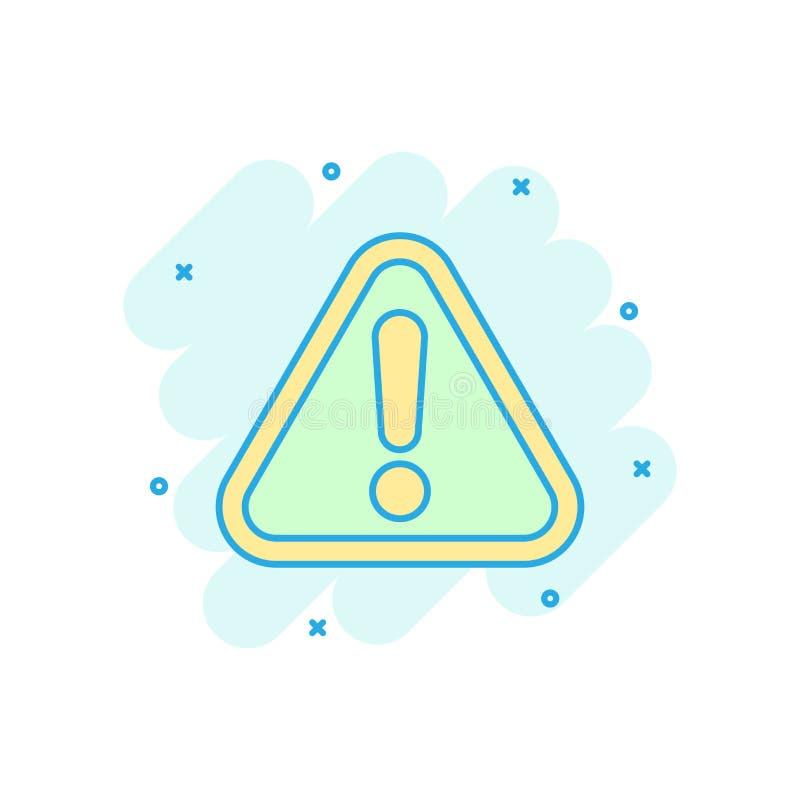 Значок восклицательного знака в шуточном стиле Пиктограмма иллюстрации мультфильма вектора сигнала тревоги опасности Выплеск конц иллюстрация штока