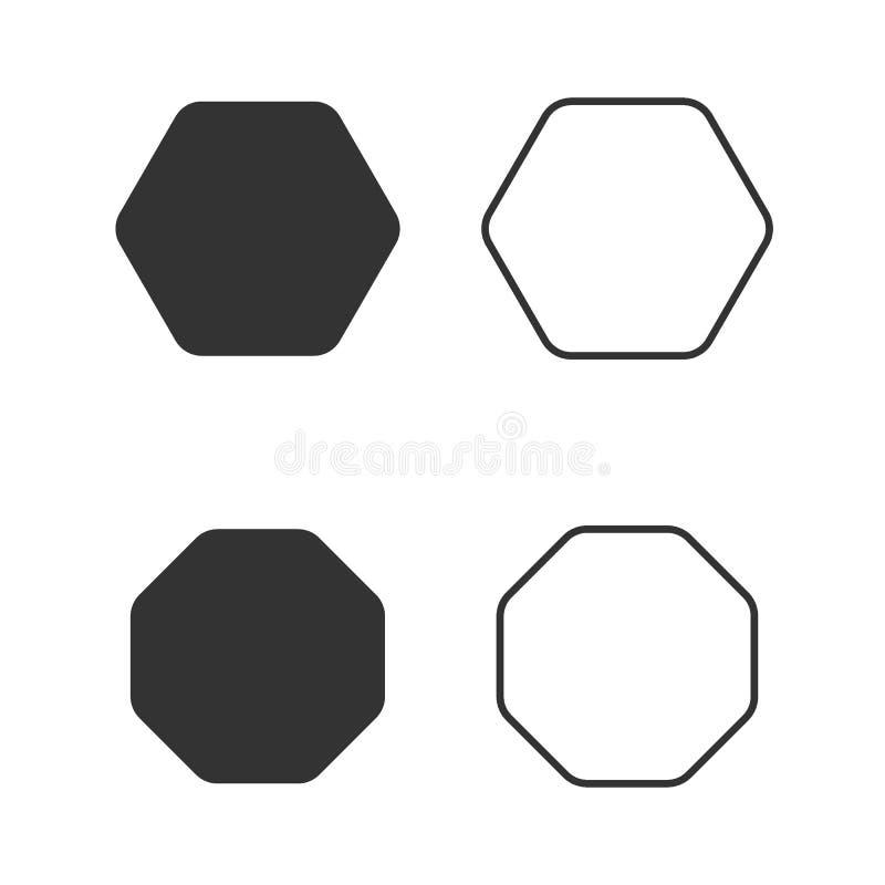 Значок восьмиугольника геометрии восьмиугольные 8 вектора встал на сторону линия восьмиугольника полигона иллюстрация вектора