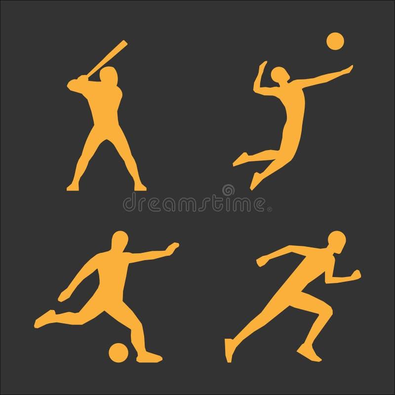Значок волейбола и футбола золота бесплатная иллюстрация