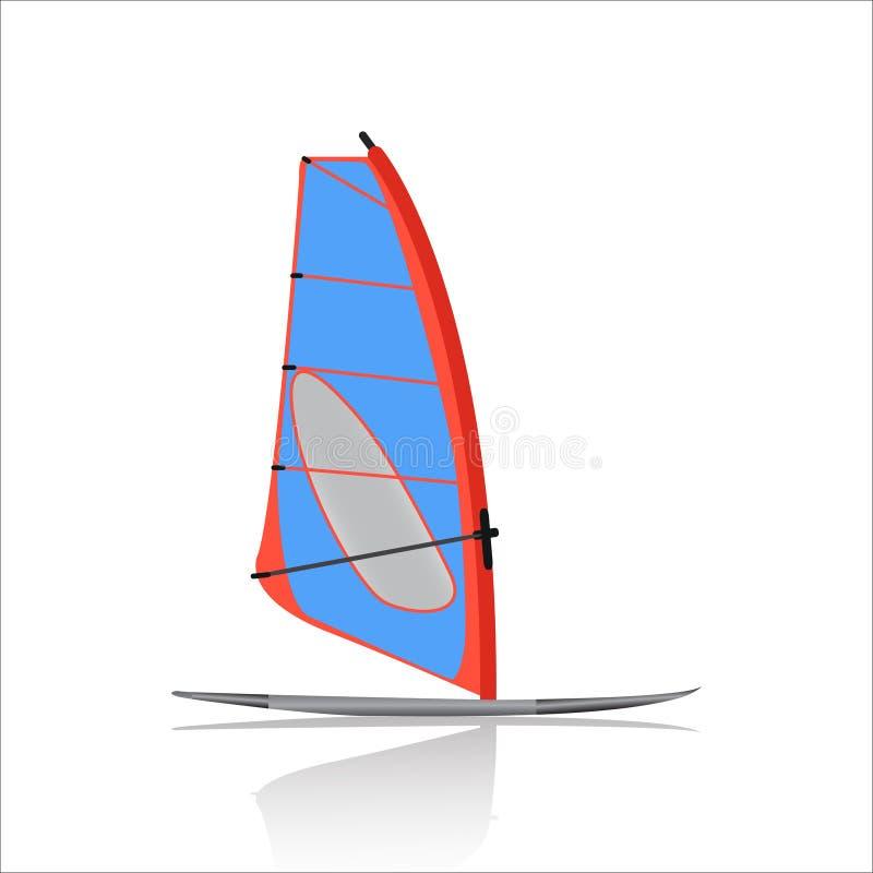 Значок, водные виды спорта и развлечения виндсерфинга доски иллюстрация вектора