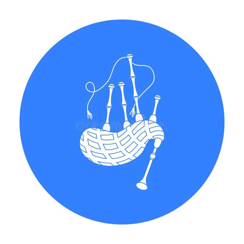 Значок волынок в черном стиле изолированный на белой предпосылке Иллюстрация вектора запаса символа музыкальных инструментов иллюстрация штока