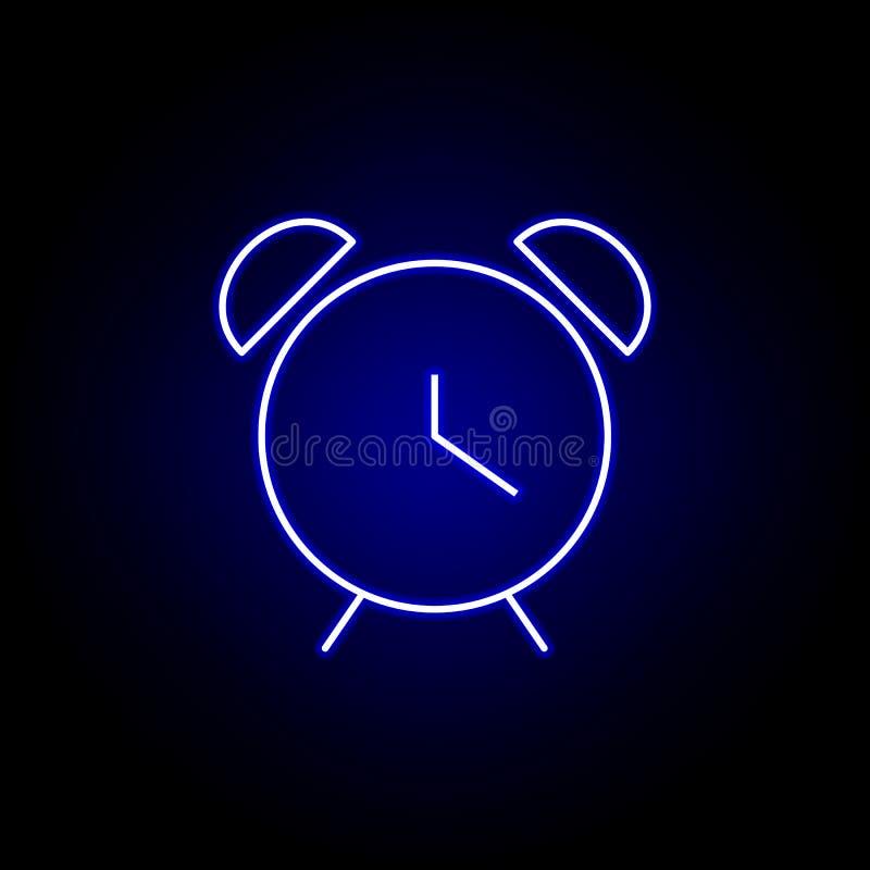 значок времени будильника в голубом неоновом стиле Элементы значка иллюстрации времени Знаки, символы можно использовать для сети бесплатная иллюстрация