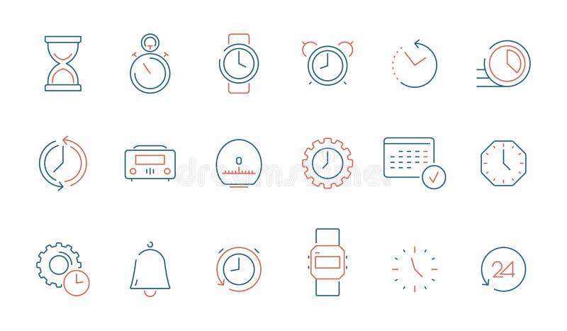 Значок времени Вектор времени дозора часов календаря быстрый покрасил тонкую линию символы изолированный иллюстрация вектора
