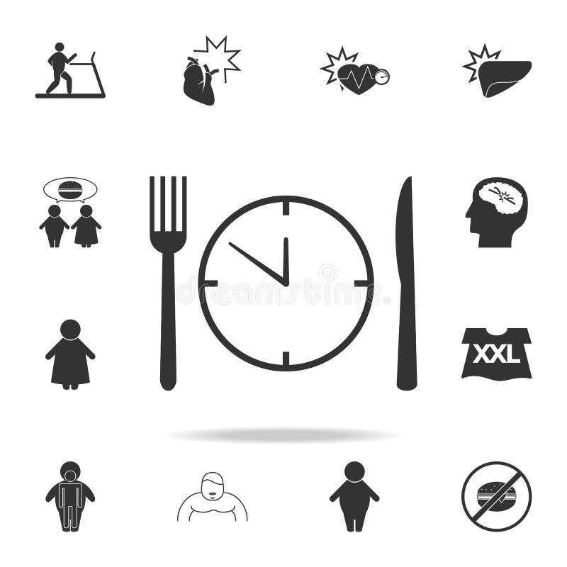 значок времени еды Детальный комплект значков тучности Наградной графический дизайн Один из значков собрания для вебсайтов, веб-д бесплатная иллюстрация