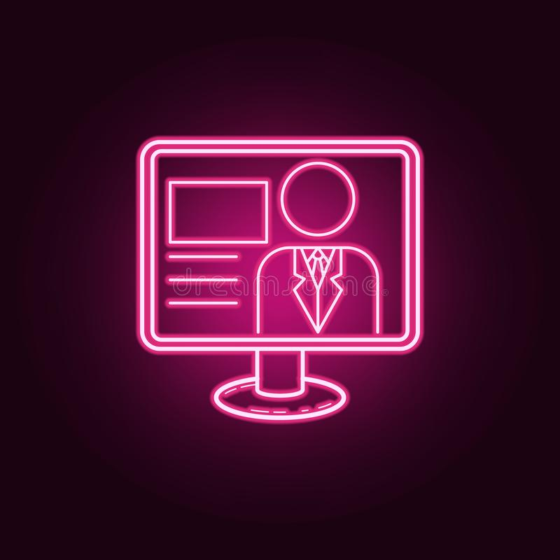 Значок вручителя ТВ Элементы средств массовой информации в неоновых значках стиля Простой значок для вебсайтов, веб-дизайн, мобил бесплатная иллюстрация