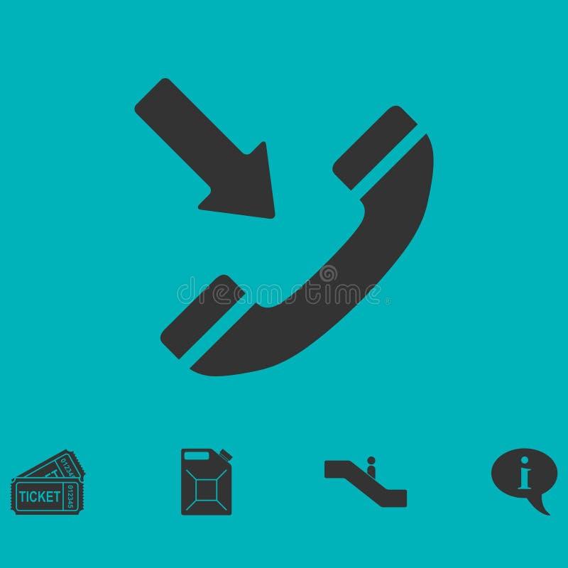 Значок входящего звонка плоско иллюстрация вектора