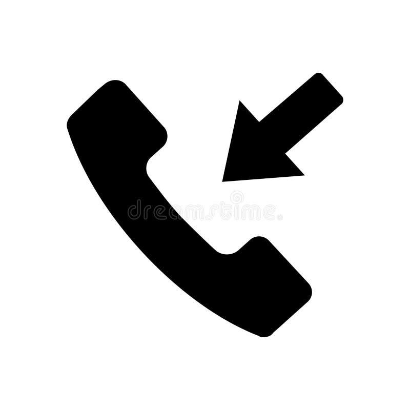 Значок входящего звонка матовой черноты бесплатная иллюстрация