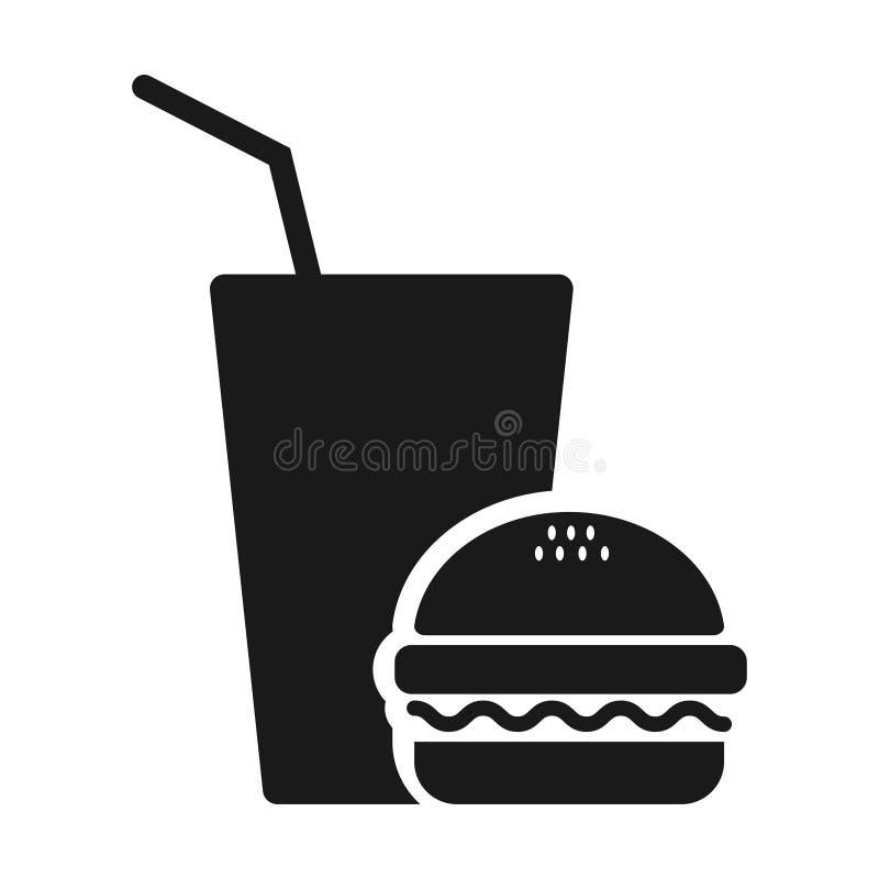 Значок высококалорийной вредной пищи - значок фаст-фуда - сэндвич бургера с напитком соды иллюстрация штока