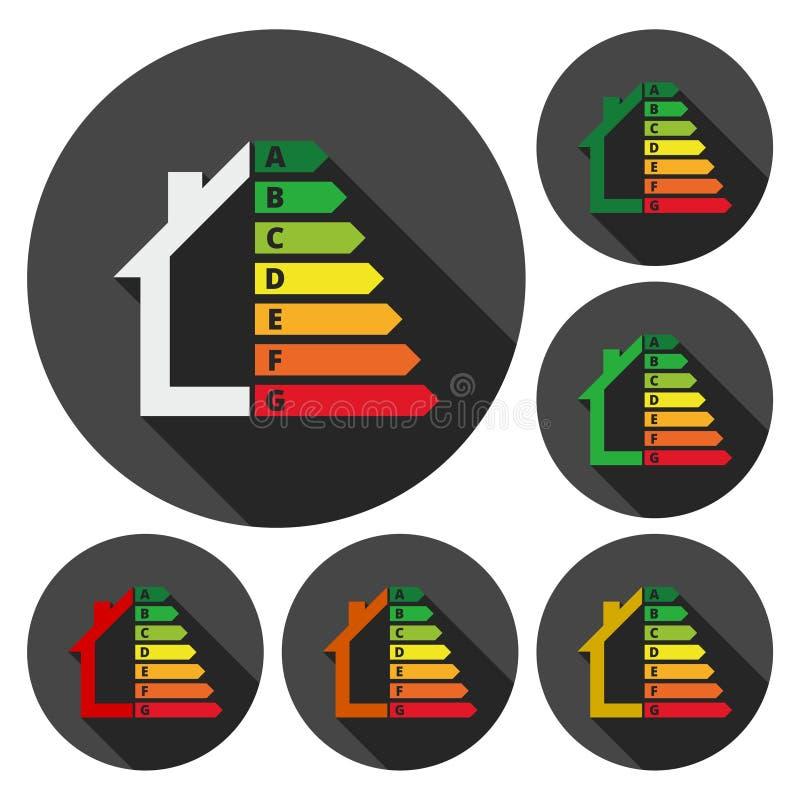 Значок выхода по энергии, знак жилищного строительства, круг застегивает с длинной тенью иллюстрация штока