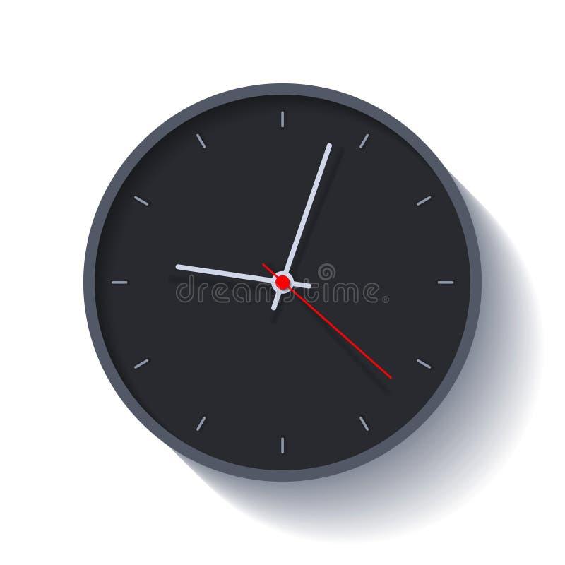 Значок в плоском стиле, круглый черный таймер часов на белой предпосылке 4 минуты за 9 Простой дозор Элемент дизайна вектора для  иллюстрация штока