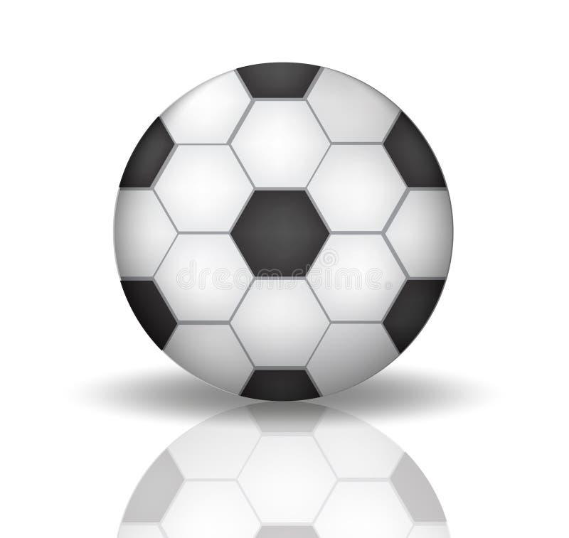 Значок в реалистическом, футбольного мяча стиль 3d Футбол, концепция спорта Изолировано на белой предпосылке с отражением вектор иллюстрация вектора