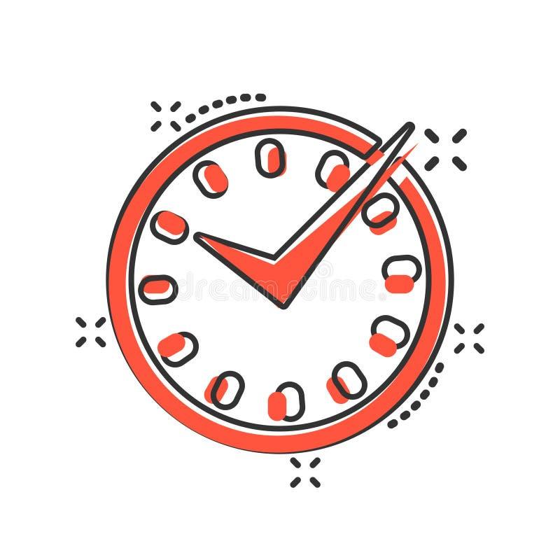 Значок в реальном времени в шуточном стиле Иллюстрация мультфильма вектора часов на белой изолированной предпосылке Выплеск конце бесплатная иллюстрация