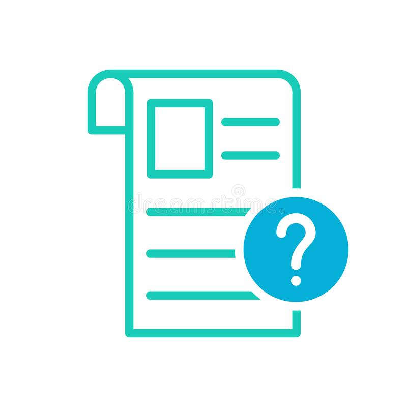 Значок газеты, рядовые события, значок новостей с вопросительным знаком Значок и помощь газеты, как к, информация, символ запроса иллюстрация вектора