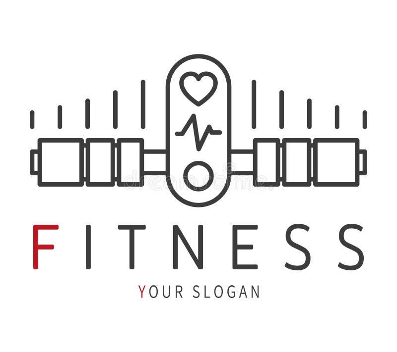 Значок гантели фитнеса с cardio прибором Эмблема для pilates фитнеса здоровья спорта вектор иллюстрация вектора