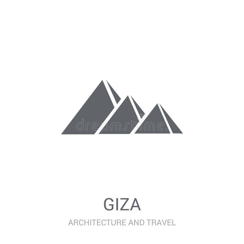 Значок Гизы Ультрамодная концепция логотипа Гизы на белой предпосылке от дуги иллюстрация вектора