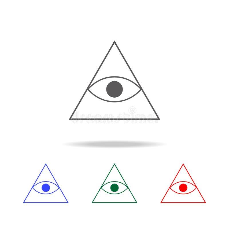 значок глаза пирамиды Элементы в multi покрашенных значках для передвижных apps концепции и сети Значки для дизайна вебсайта и ра иллюстрация вектора
