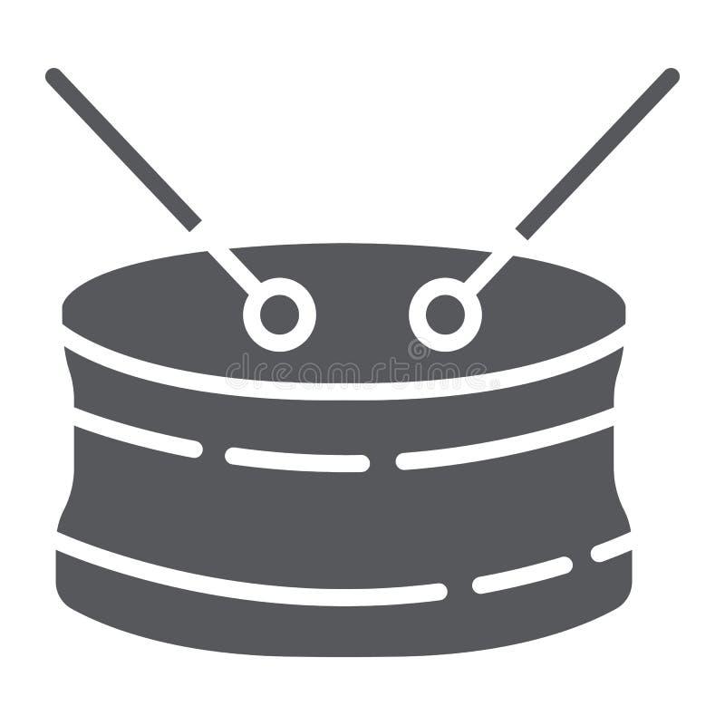 Значок глифа барабанчика тенет, мюзикл и аппаратура, барабанчики подписывают, векторные графики, твердая картина на белой предпос иллюстрация вектора