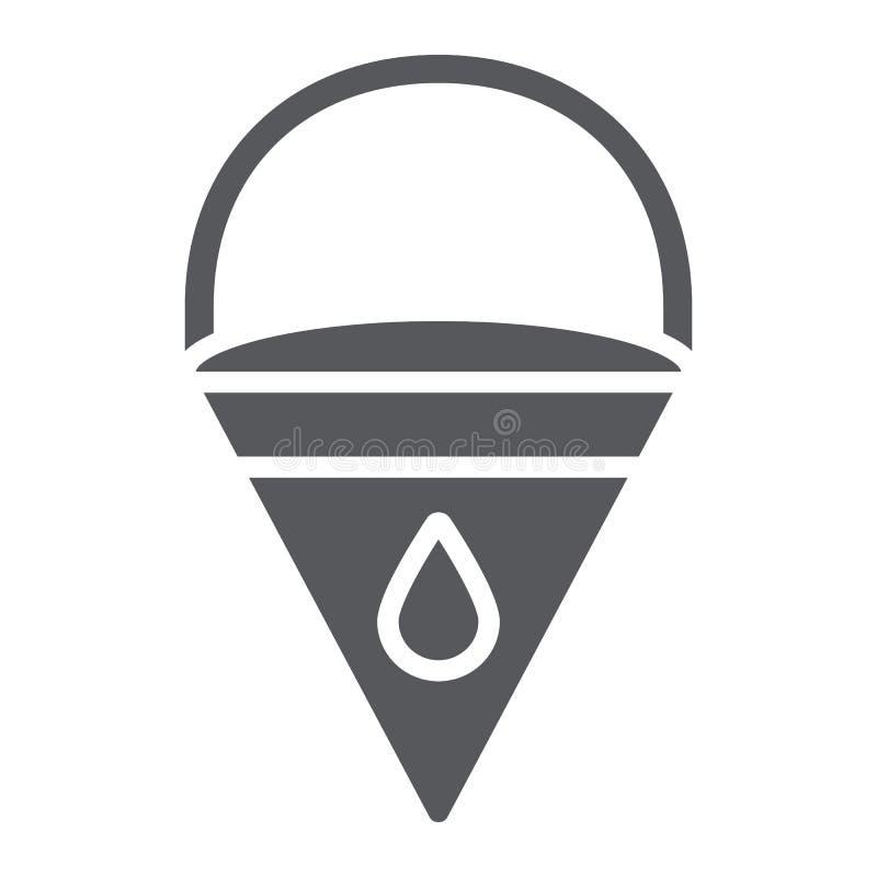 Значок глифа ведра огня, пожарный и оборудование, знак ведра треугольника, векторные графики, твердая картина на белом бесплатная иллюстрация