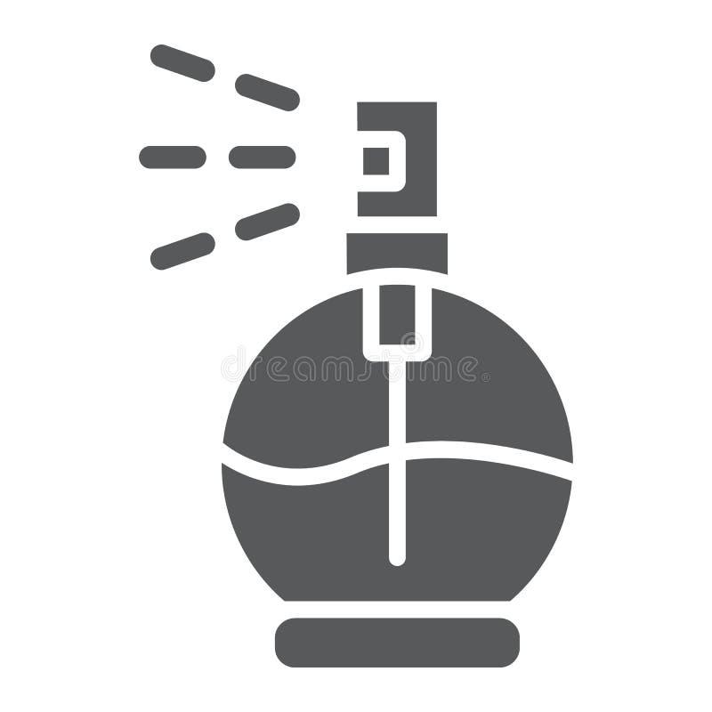 Значок глифа духов, ароматность и благоухание, знак кёльна, векторные графики, твердая картина на белой предпосылке иллюстрация вектора