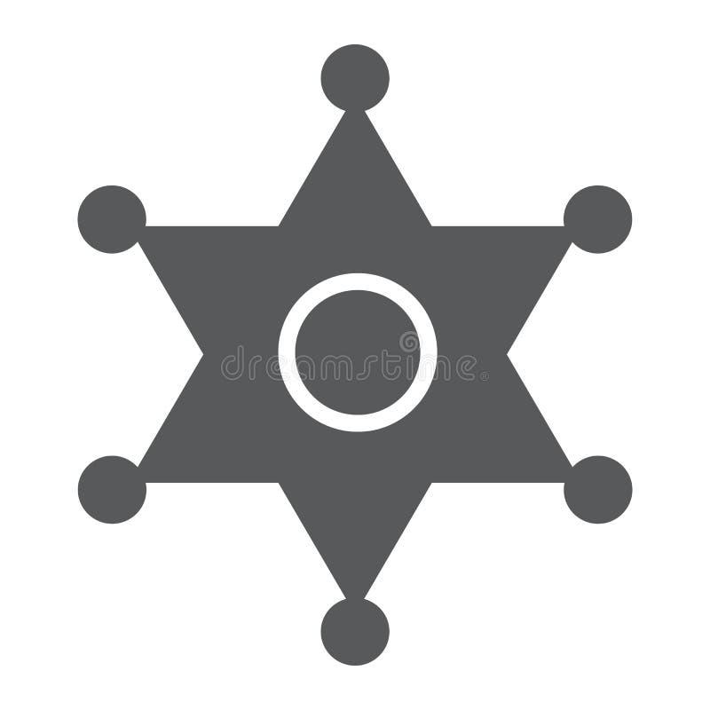 Значок глифа значка шерифа, закон и офицер, знак значка полиции, векторные графики, твердая картина на белой предпосылке иллюстрация штока