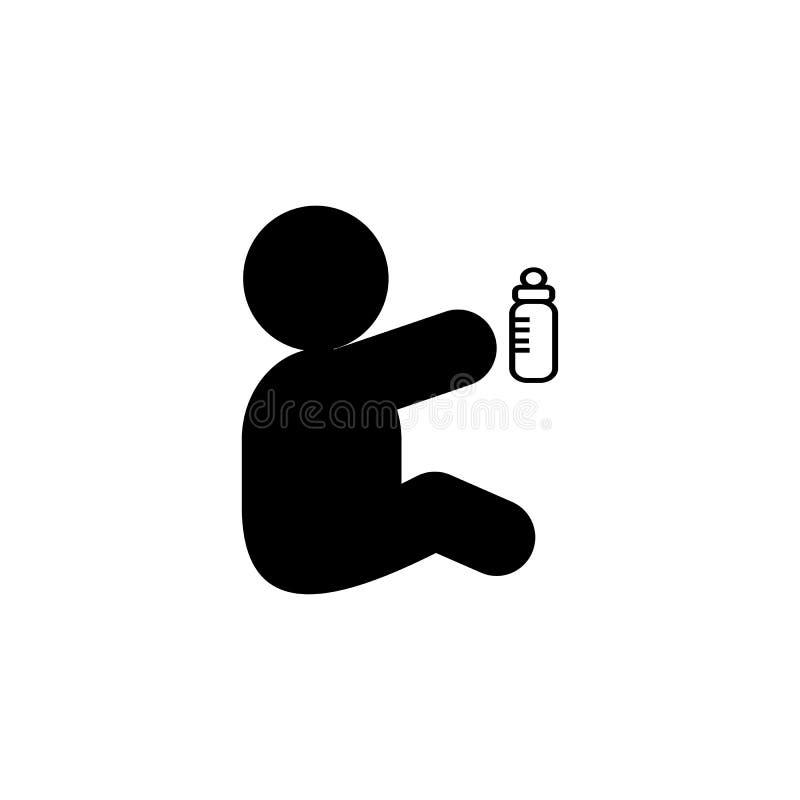 Значок глифа младенца и молока Элемент значка иллюстрации развития Знаки и символы можно использовать для сети, логотипа, мобильн иллюстрация вектора