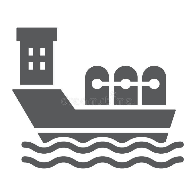 Значок глифа нефтяного танкера, промышленный и шлюпка, знак корабля масла, векторные графики, твердая картина на белой предпосылк иллюстрация штока