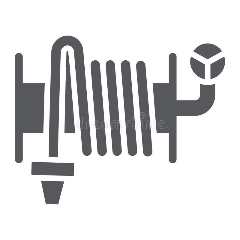 Значок глифа пожарного рукава, оборудование и вода, знак вьюрка шланга, векторные графики, твердая картина на белой предпосылке бесплатная иллюстрация