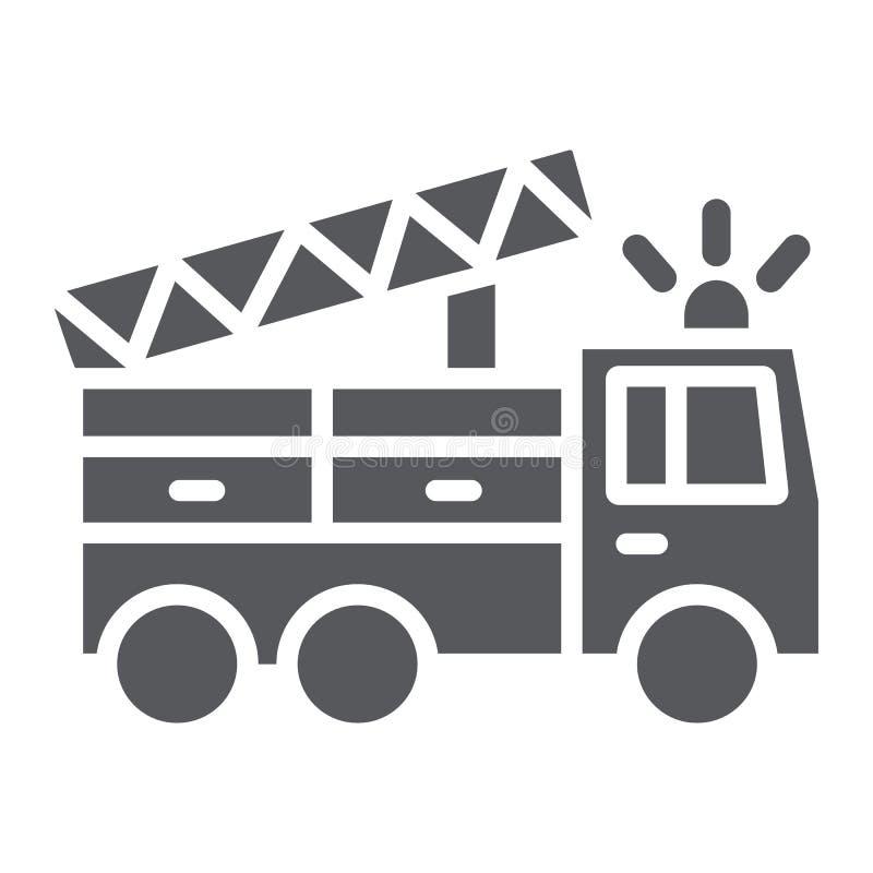 Значок глифа пожарной машины, переход и аварийная ситуация, знак автомобиля пожарного, векторные графики, твердая картина на бело иллюстрация штока
