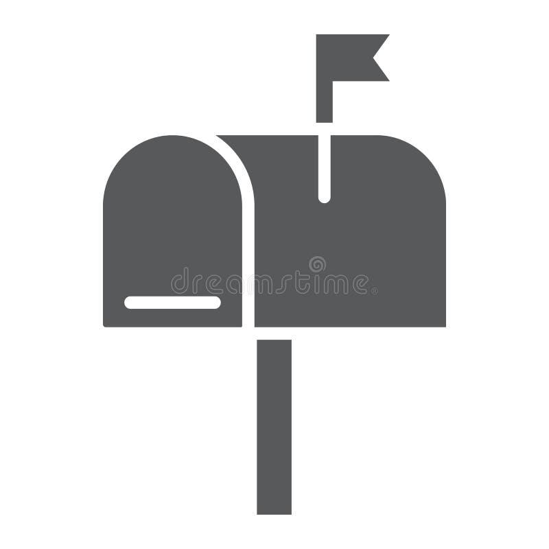 Значок глифа почтового ящика, письмо и столб, знак почтового ящика иллюстрация вектора
