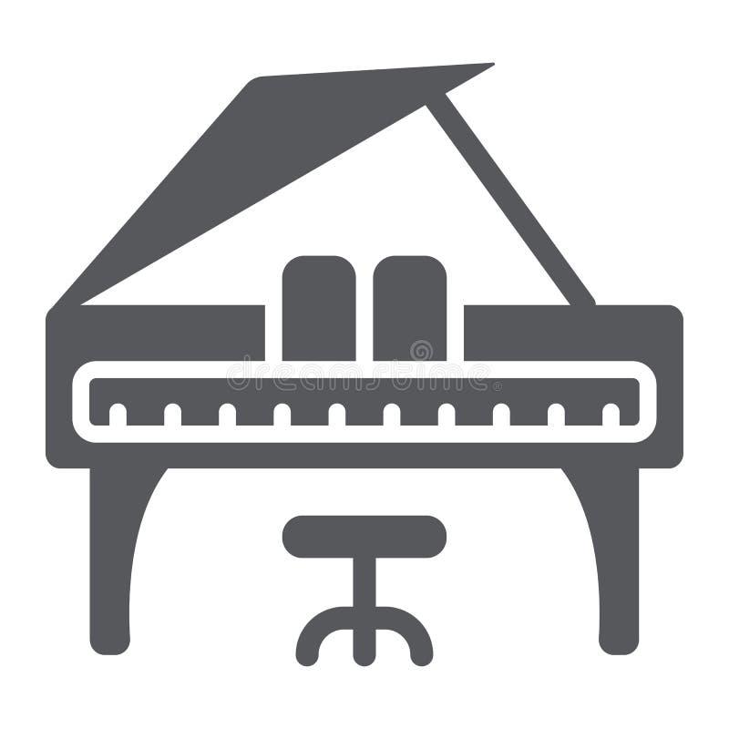 Значок глифа рояля, музыка и звук, знак музыкального инструмента клавиатуры, векторные графики, твердая картина на белом иллюстрация штока