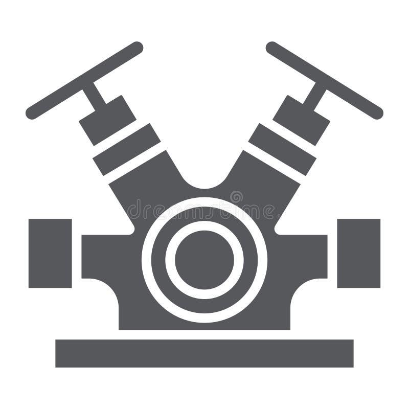 Значок глифа системы гидранта, оборудование и аварийная ситуация, знак faucet гасителя, векторные графики, твердая картина на a иллюстрация вектора