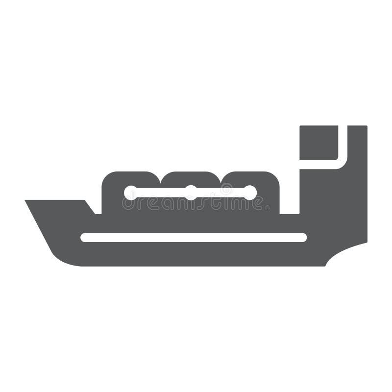 Значок глифа топливозаправщика, шлюпка и корабль, знак сосуда, векторные графики, твердая картина на белой предпосылке бесплатная иллюстрация