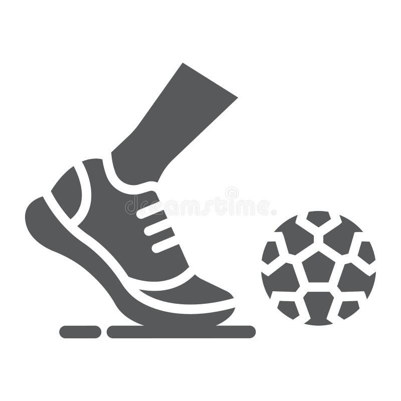 Значок глифа Kickball, футбол и игра, нога со знаком шарика, векторными графиками, твердой картиной на белой предпосылке иллюстрация вектора