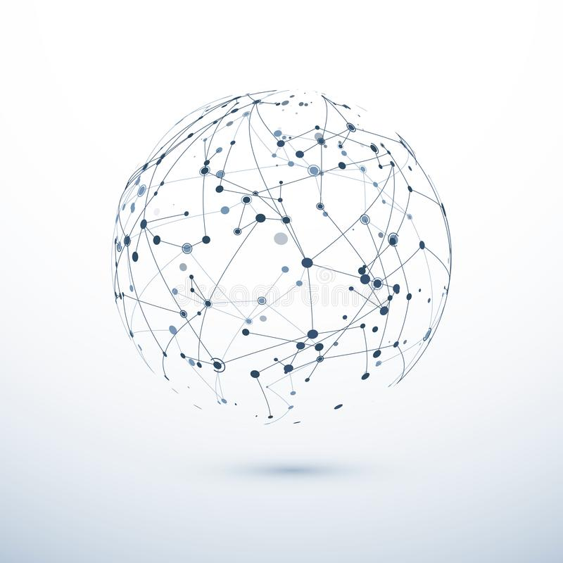Значок глобальной вычислительной сети Абстрактная структура всемирной паутины Сфера с узлами и соединениями вектор бесплатная иллюстрация